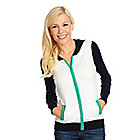717-492 - OSO Casuals Fine Gauge Knit Long Sleeved Color Block Hooded Cardigan