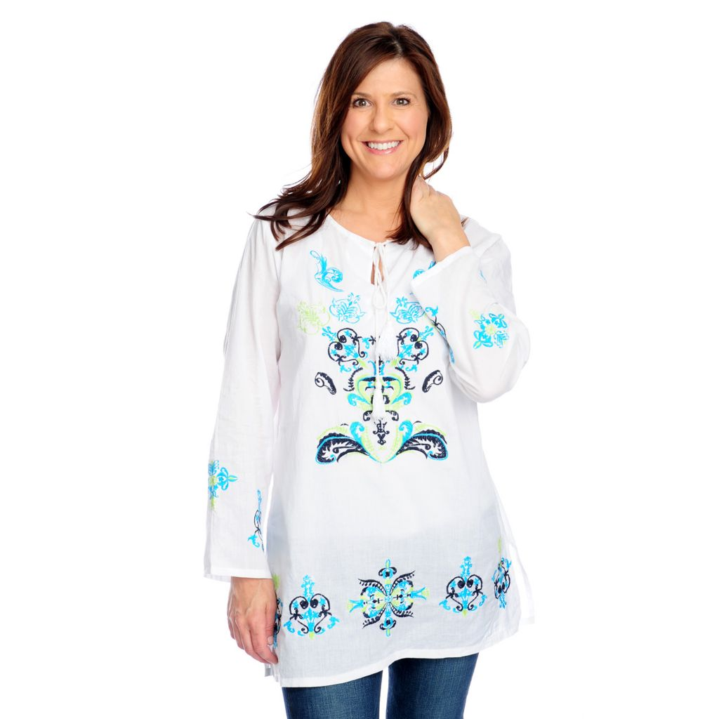 717-493 - OSO Casuals Cotton Voile Long Sleeved Tie-Neck Embroidered Tunic
