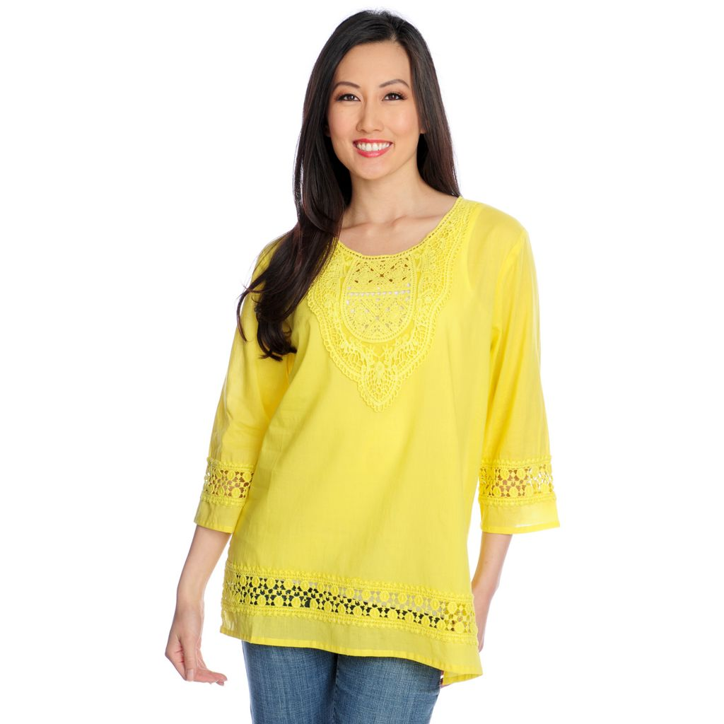717-496 - OSO Casuals Cotton Woven 3/4 Sleeved Lace Detailed Tunic
