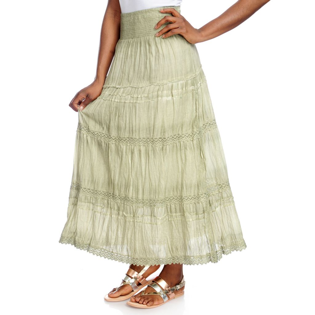 717-499 - OSO Casuals Crinkle Woven Smocked Waistband Crochet Trim Tie-Dye Maxi Skirt