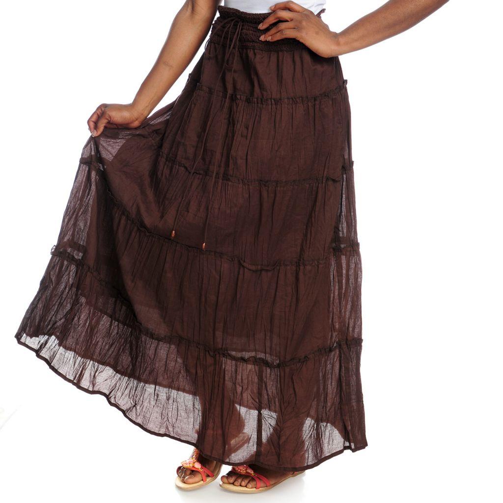 717-500 - OSO Casuals Cotton Woven Crochet Detailed Tie-Waist Five-Tiered Skirt