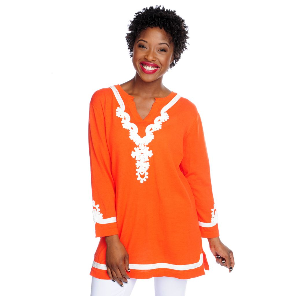 717-504 - WD.NY Fine Gauge Knit 3/4 Sleeved Contrast Trimmed Notch Neck Top