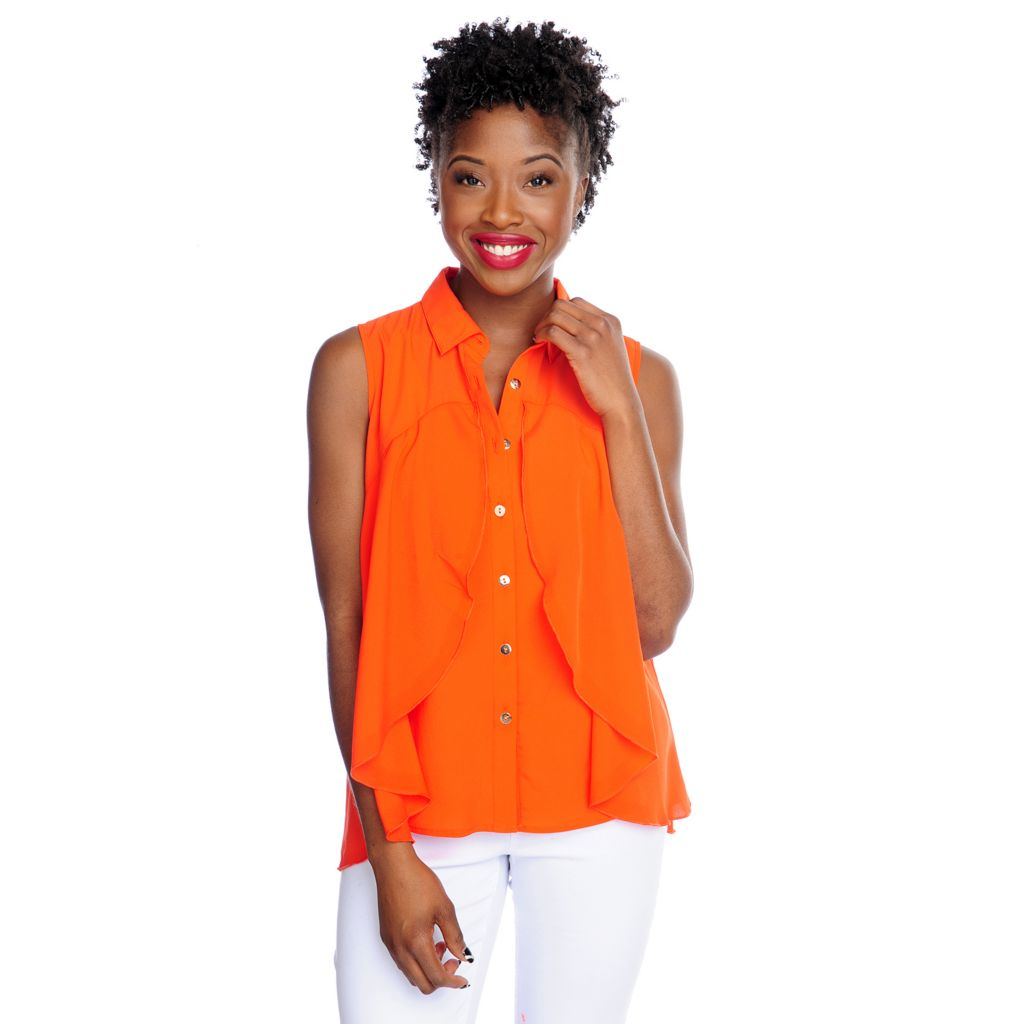 717-505 - WD.NY Woven Sleeveless Button Front Overlay Top