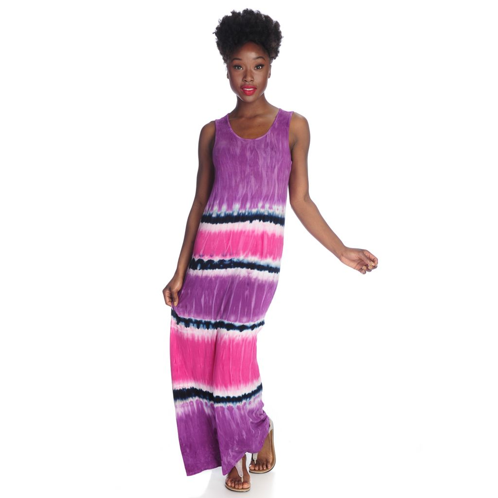 717-511 - WD.NY Tie-Dyed Knit Sleeveless Keyhole Back Maxi Dress