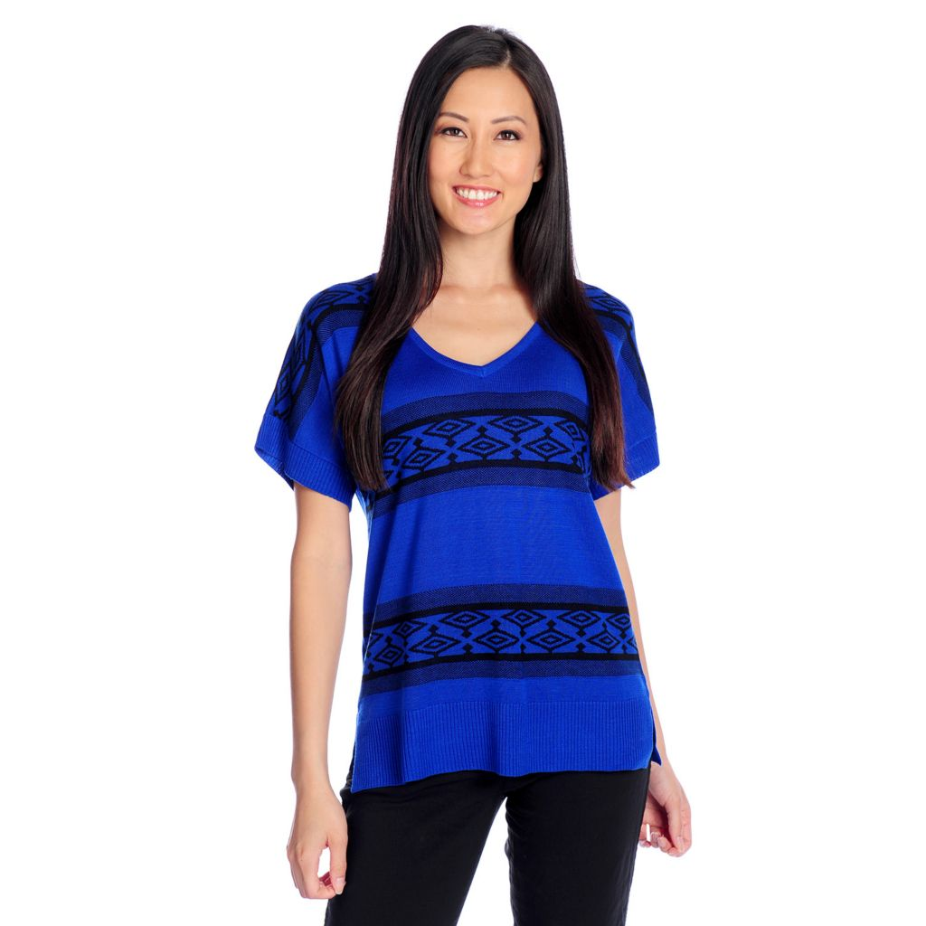 717-514 - OSO Casuals Fine Gauge Knit Short Sleeved Tribal Striped Pullover Sweater