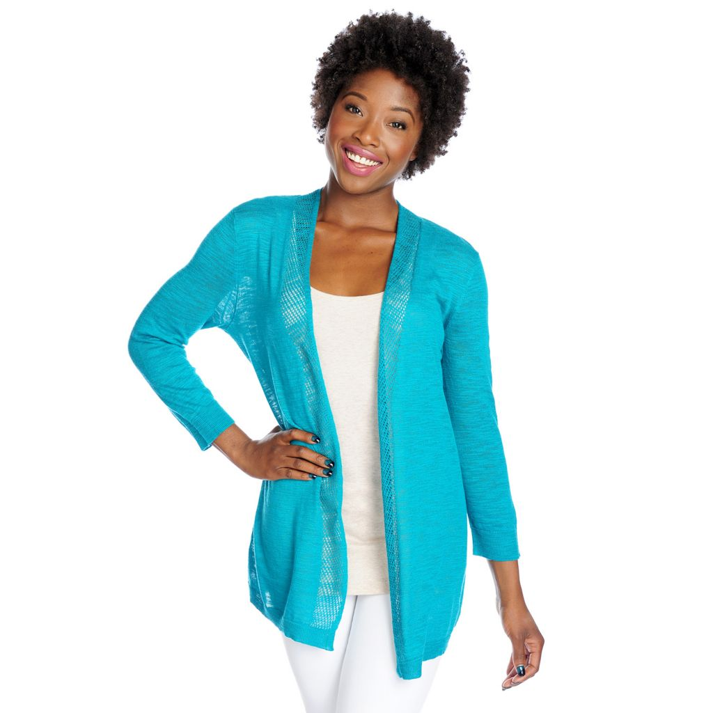 717-515 - OSO Casuals Slub Knit 3/4 Sleeved Open Stitch Detail Open Cardigan