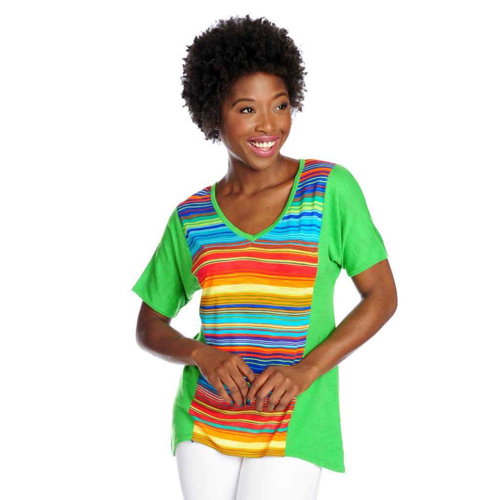 717-519 - OSO Casuals Slub Knit Mixed Media Dolman Sleeved V-Neck Top