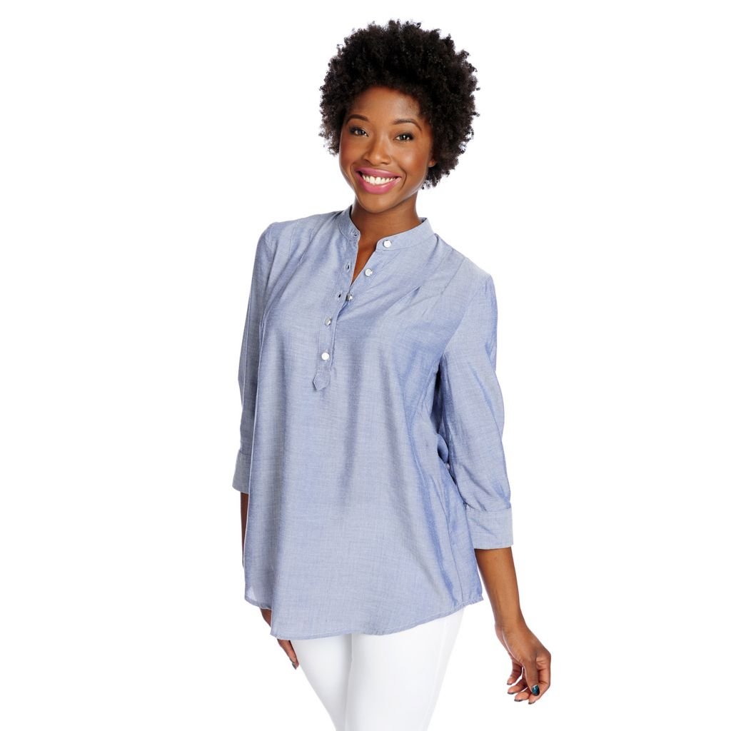 717-522 - OSO Casuals Chambray 3/4 Sleeved Pintuck Detailed Half Placket Top
