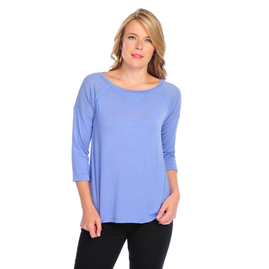717-525 - OSO Casuals Stretch Knit Raglan Sleeved Mesh Shoulder Round Neck Top
