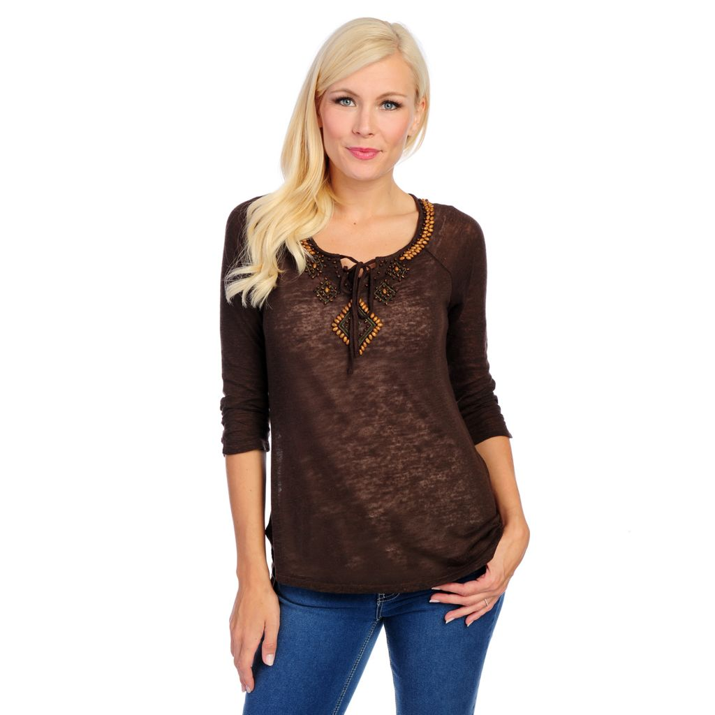 717-529 - OSO Casuals Slub Knit 3/4 Sleeved Embellished Neck Hi-Lo Top