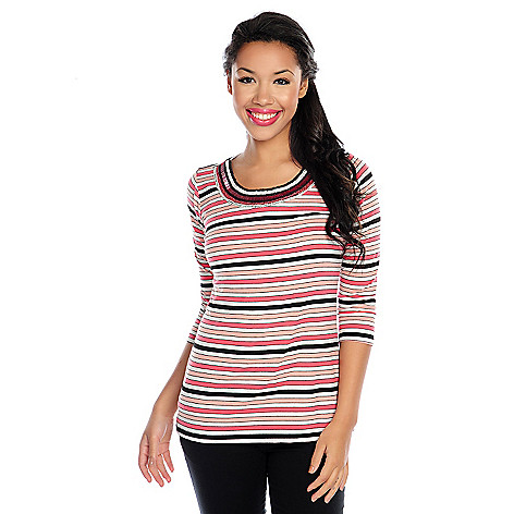 717-531 - Glitterscape® Stretch Knit 3/4 Sleeve Beaded Trim Striped Top