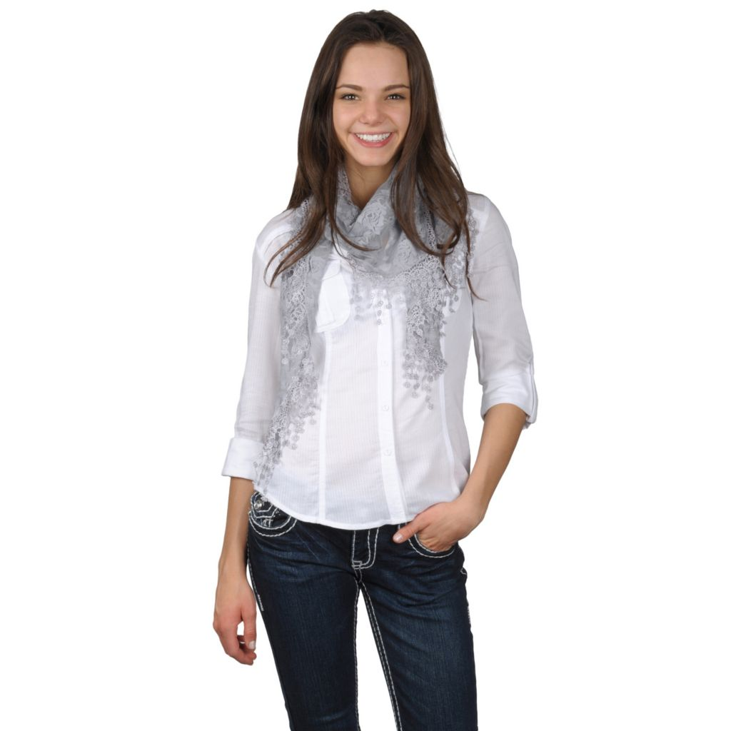 717-550 - Hailey Jeans Co Womens Floral Pattern Lace Detailed Scarf