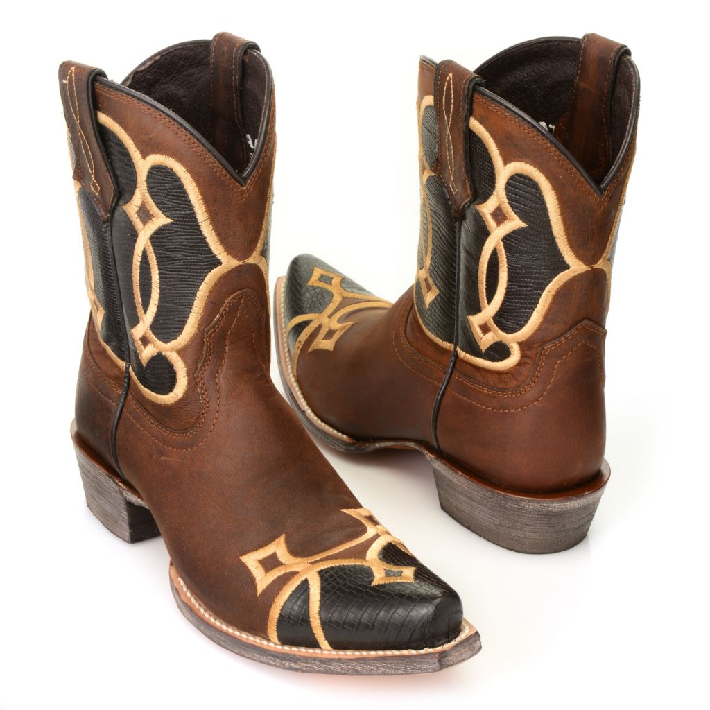 717-583 - Ariat® Reptile Embossed & Distressed Leather Embroidered Mid-Calf Boots