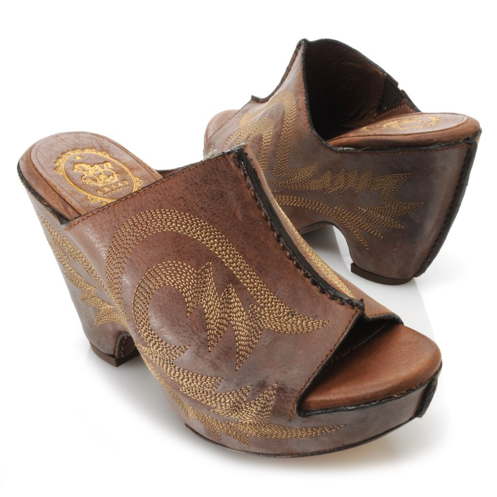 717-585 - Ariat® Leather Wrapped Peep Toe Wedge Sandals