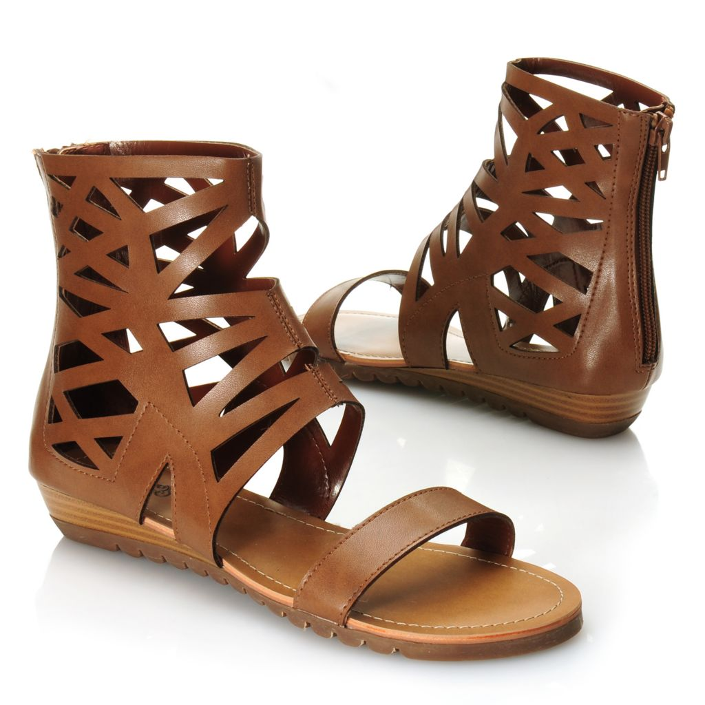 717-586 - Carlos by Carlos Santana Gladiator-Style Back Zip Sandals