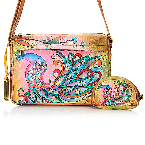 717-590 - Anuschka Hand-Painted Leather Zip Top Cross Body Bag w/ Coin Pouch