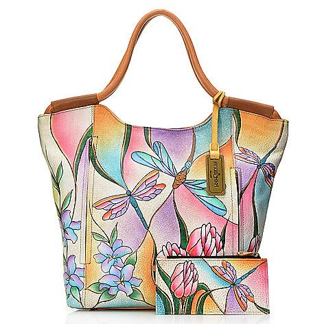 717-593 - Anuschka Hand-Painted Leather Shopper Handbag w/ Strap & Credit Card Holder
