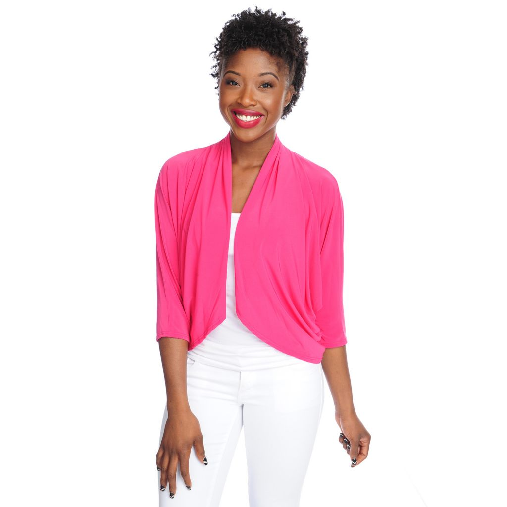 717-605 - aDRESSing WOMAN Stretch Knit Dolman Sleeved Ruched Detail Open Front Shrug