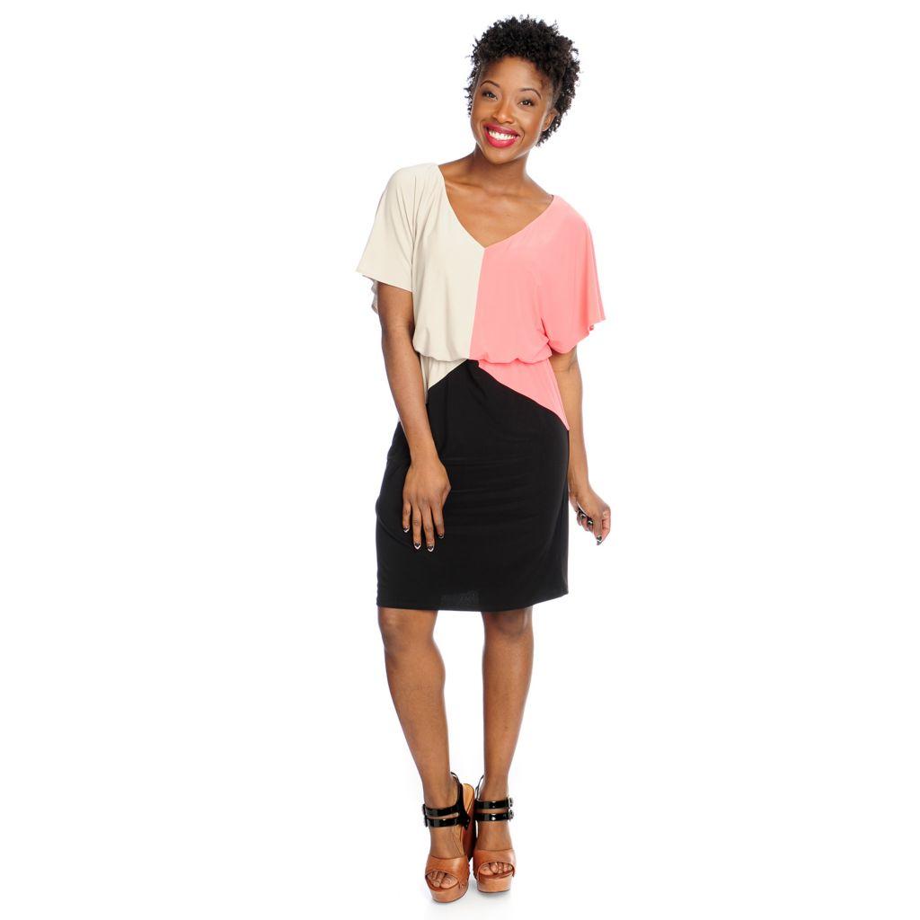 717-609 - aDRESSing WOMAN Stretch Knit Dolman Sleeved Color Block V-Neck Dress