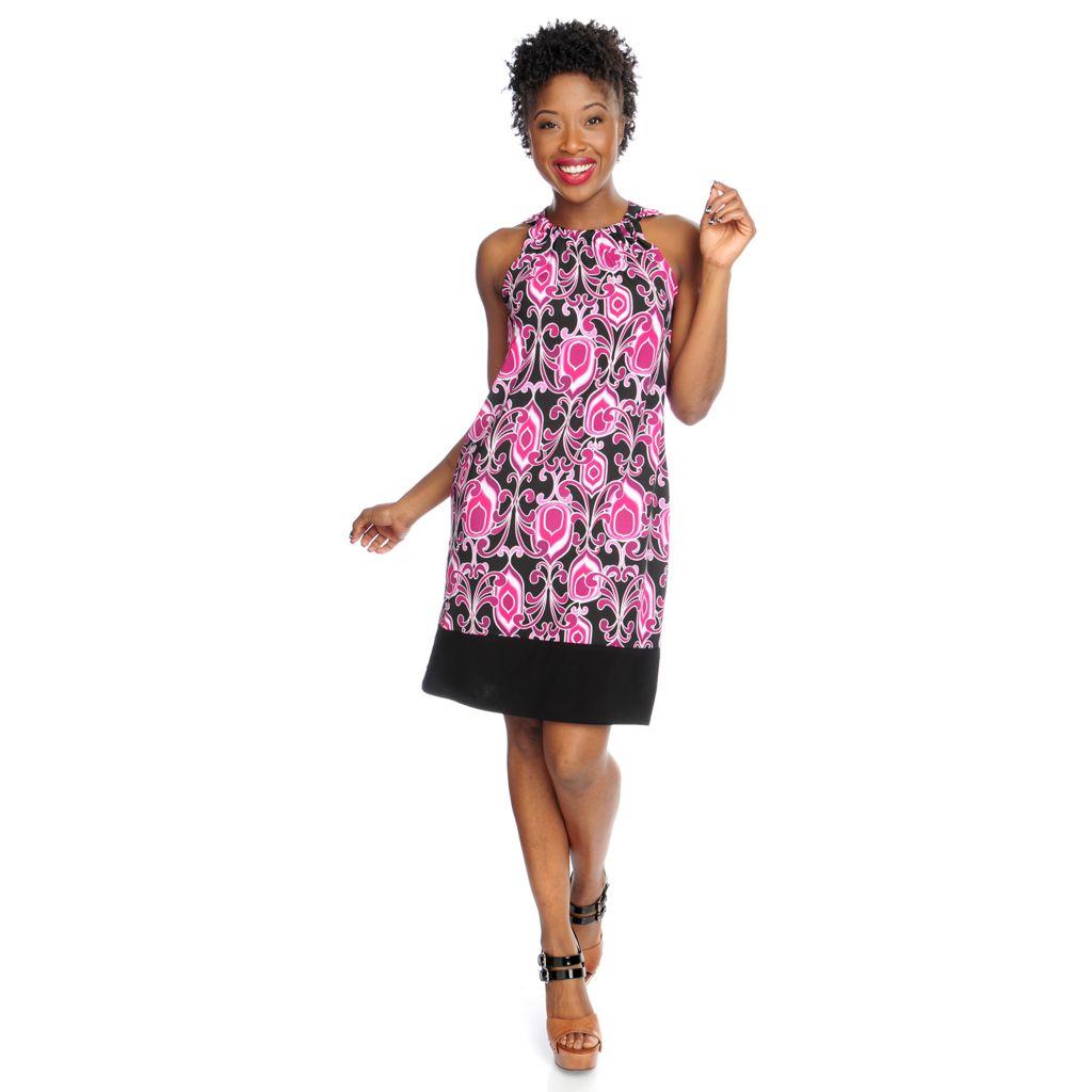 717-610 - aDRESSing WOMAN Stretch Knit Halter Neckline Solid Trim Printed Dress