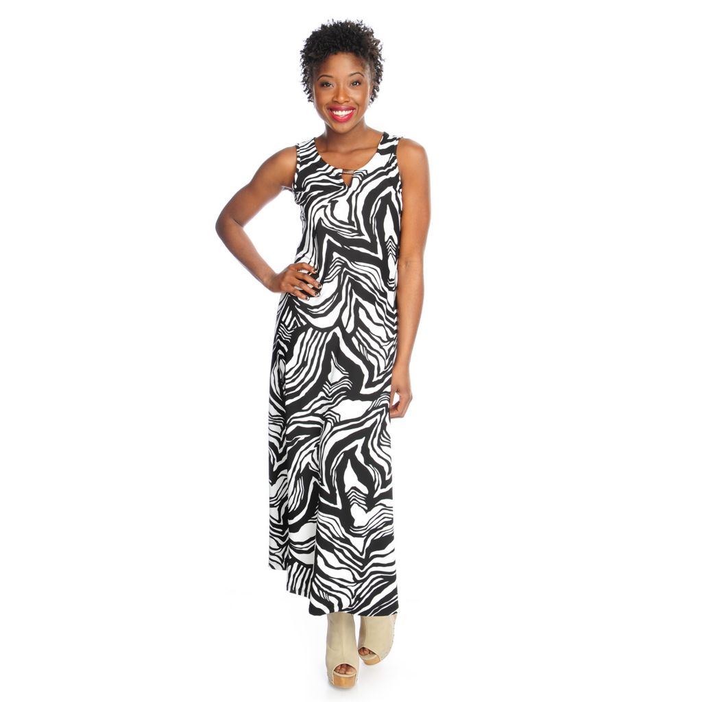 717-616 - aDRESSing WOMAN Stretch Knit Sleeveless Keyhole Neck Printed Maxi Dress
