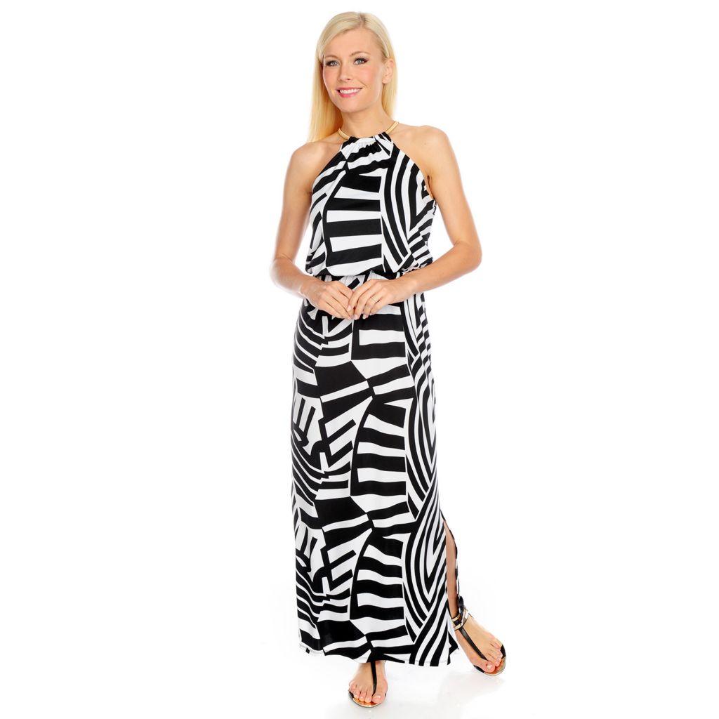 717-619 - aDRESSing WOMAN Stretch Knit Sleeveless Chain Neck Maxi Dress