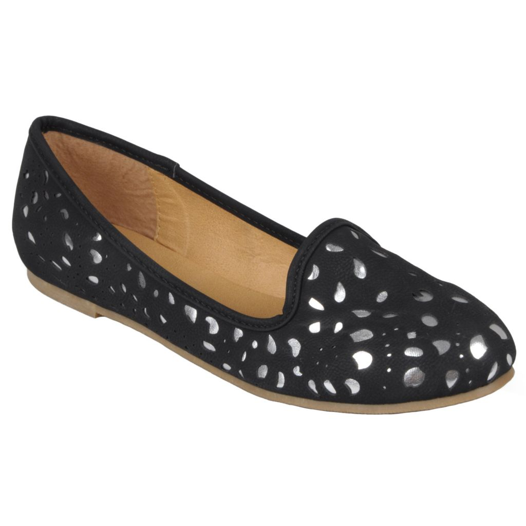 717-669 - Hailey Jeans Co. Women's Round Toe Metallic Accent Flats