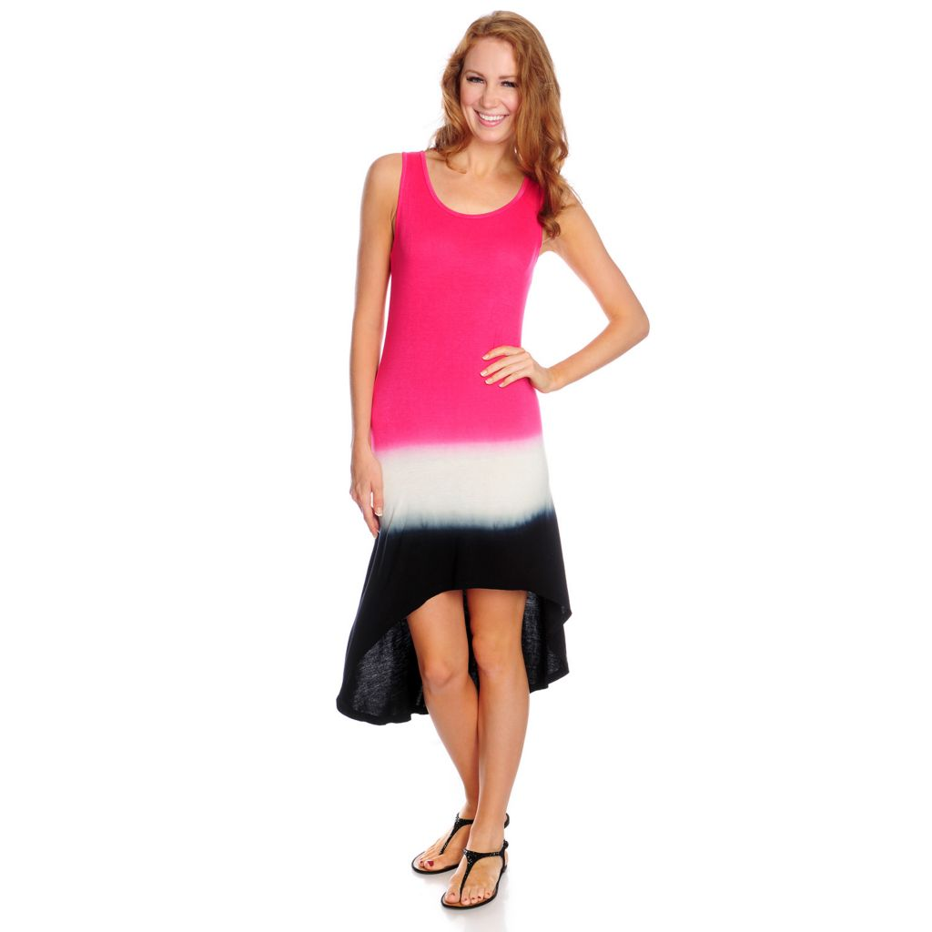 717-679 - WD.NY Tie-Dyed Knit Sleeveless Hi-Lo Hem Maxi Dress