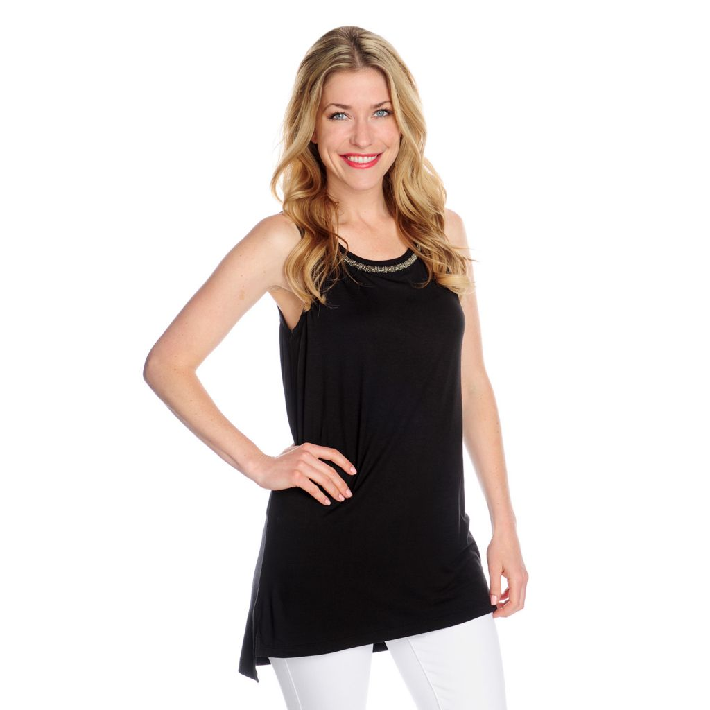 717-681 - WD.NY Stretch Knit Sleeveless Round Neck Embellished Tunic