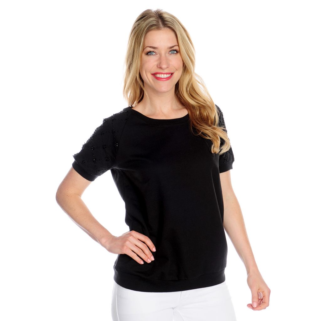 717-684 - WD.NY French Terry Raglan Sleeved Beaded Shoulder Sweatshirt Tee