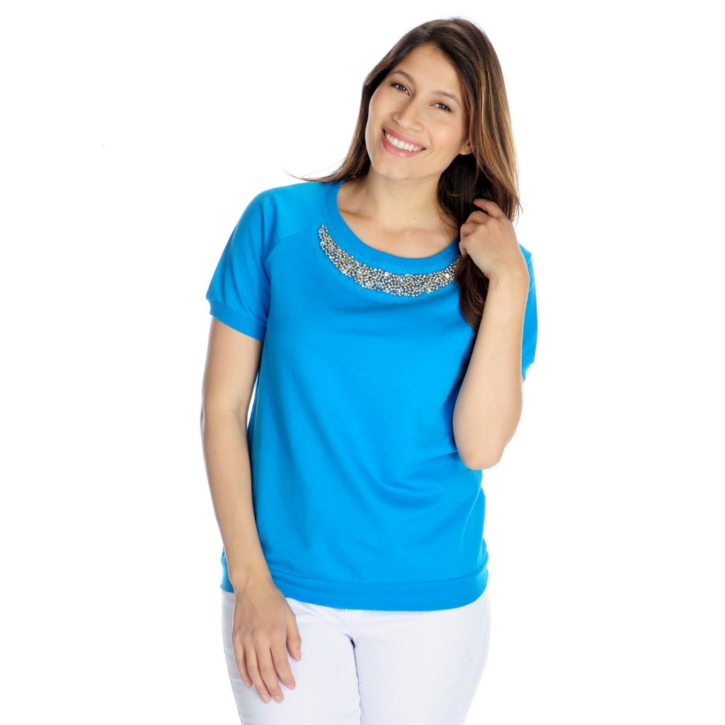 717-685 - WD.NY French Terry Raglan Sleeved Beaded Neck Sweatshirt Tee