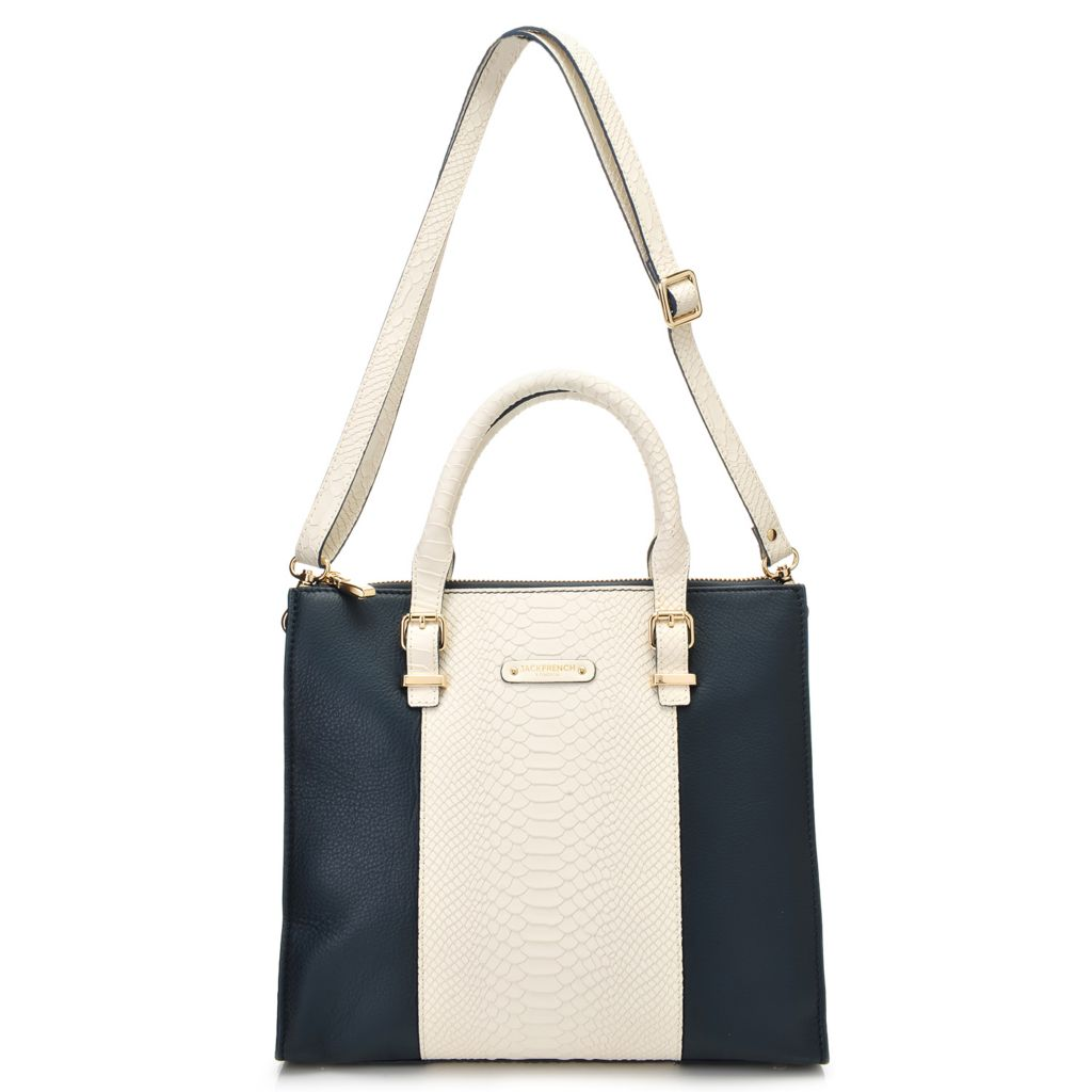 717-706 - Jack French London Snake Embossed & Grained Leather Double Handle Tote Bag w/ Strap