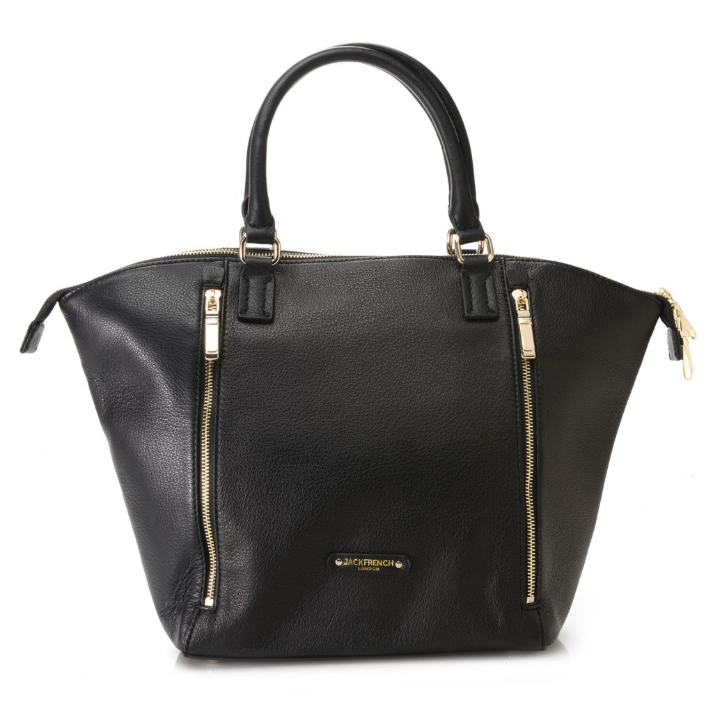 717-708 - Jack French London Grained Leather Double Handle Tapered Satchel