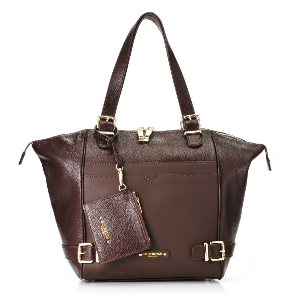 717-713 - Jack French London Pebbled Leather Double Handle Buckle Detailed Zip Top Tote Bag