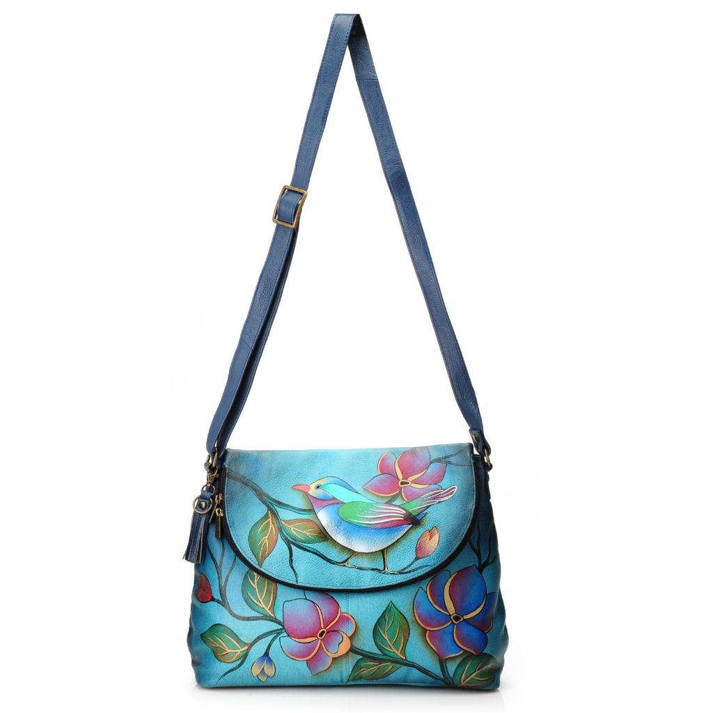 717-720 - Anuschka Hand-Painted Leather Flap-over Zip Compartment Cross Body Bag