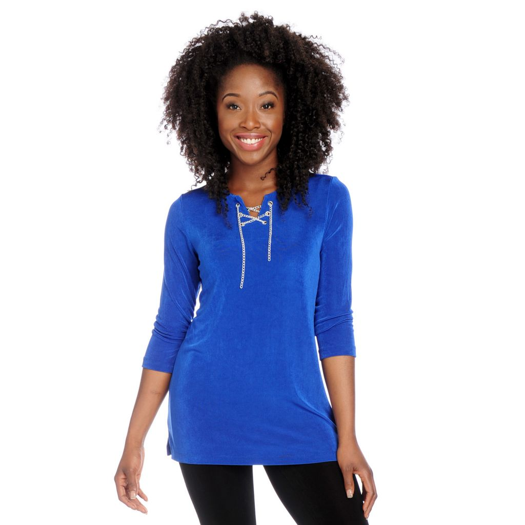 717-724 - Affinity for Knits™ 3/4 Sleeved Chain Detail Lace-up Neck Tunic