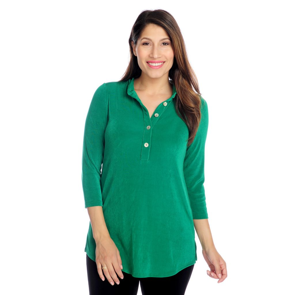 717-727 - Affinity for Knits™ 3/4 Sleeved Mandarin Collar Button Front Tunic