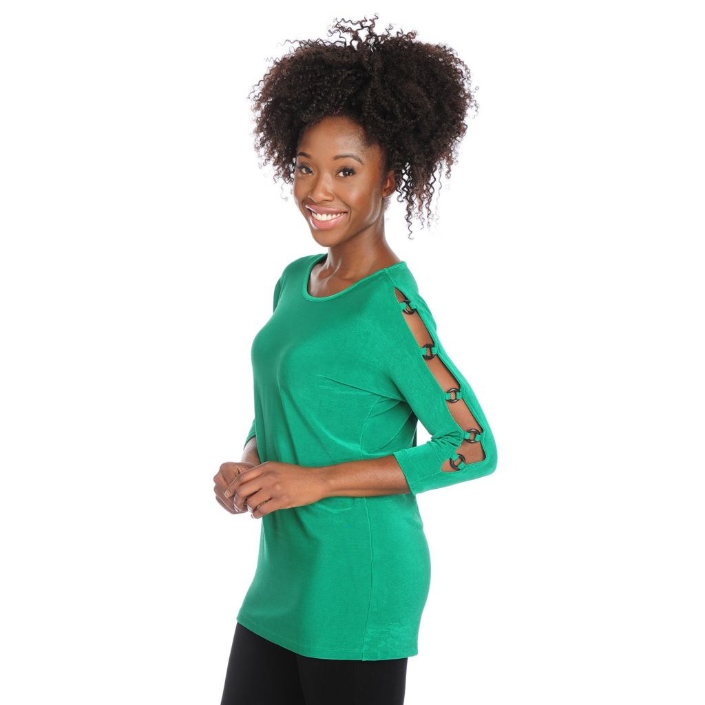 717-729 - Affinity for Knits™ 3/4 Sleeved Ring Detailed Cold Shoulder Round Neck Top