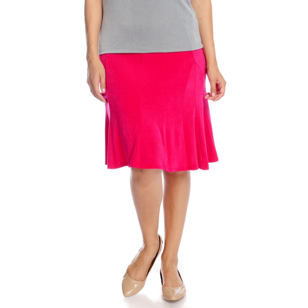 717-731 - Affinity for Knits™ Essentials Elastic Waist Below-the-Knee Flounce Skirt