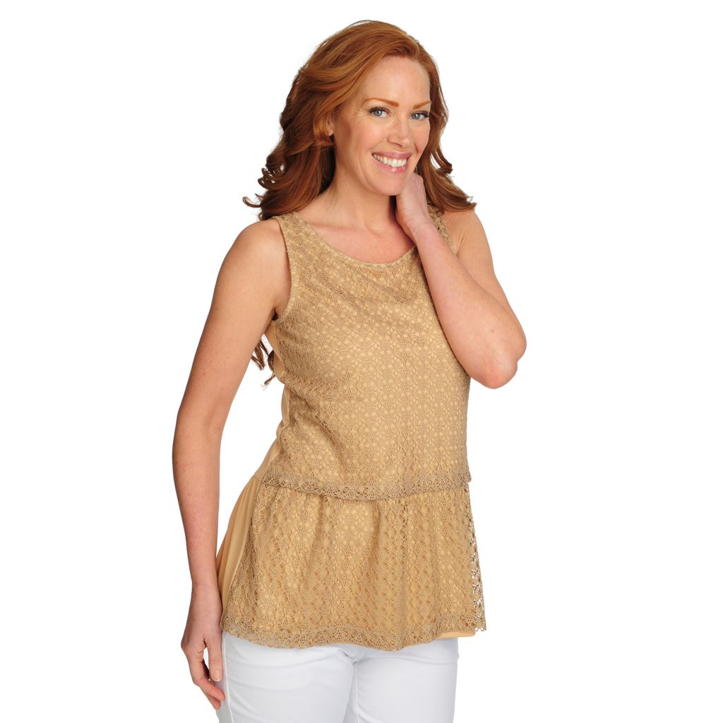 717-734 - Love, Carson by Carson Kressley Stretch Knit Lace Overlay Tiered Tank Top