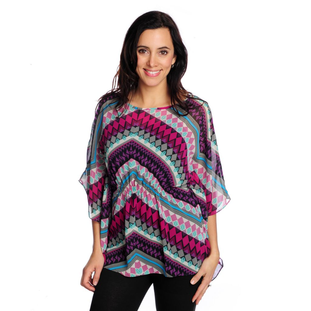 717-735 - Love, Carson by Carson Kressley Printed Chiffon Butterfly Sleeve Top w/ Tank