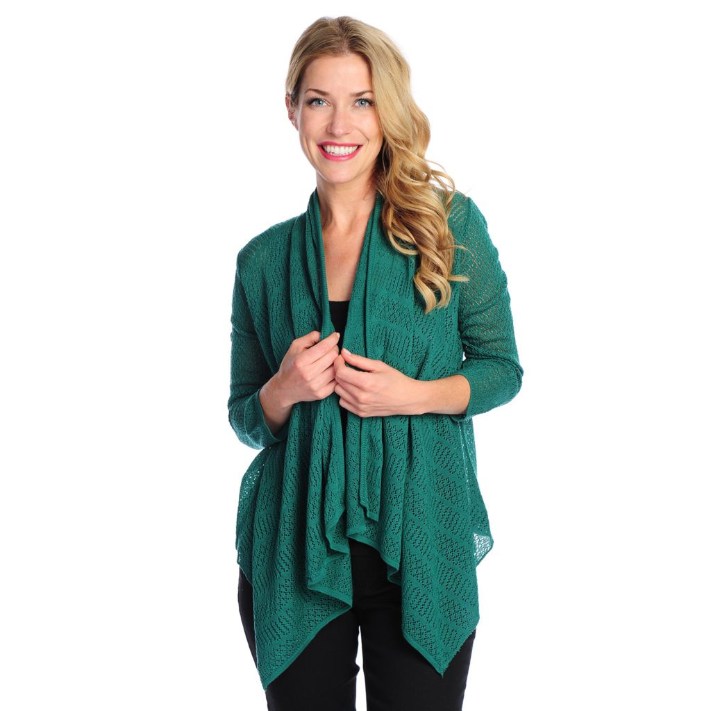 717-737 - OSO Casuals Pointelle Knit 3/4 Sleeved Draped Front Open Cardigan