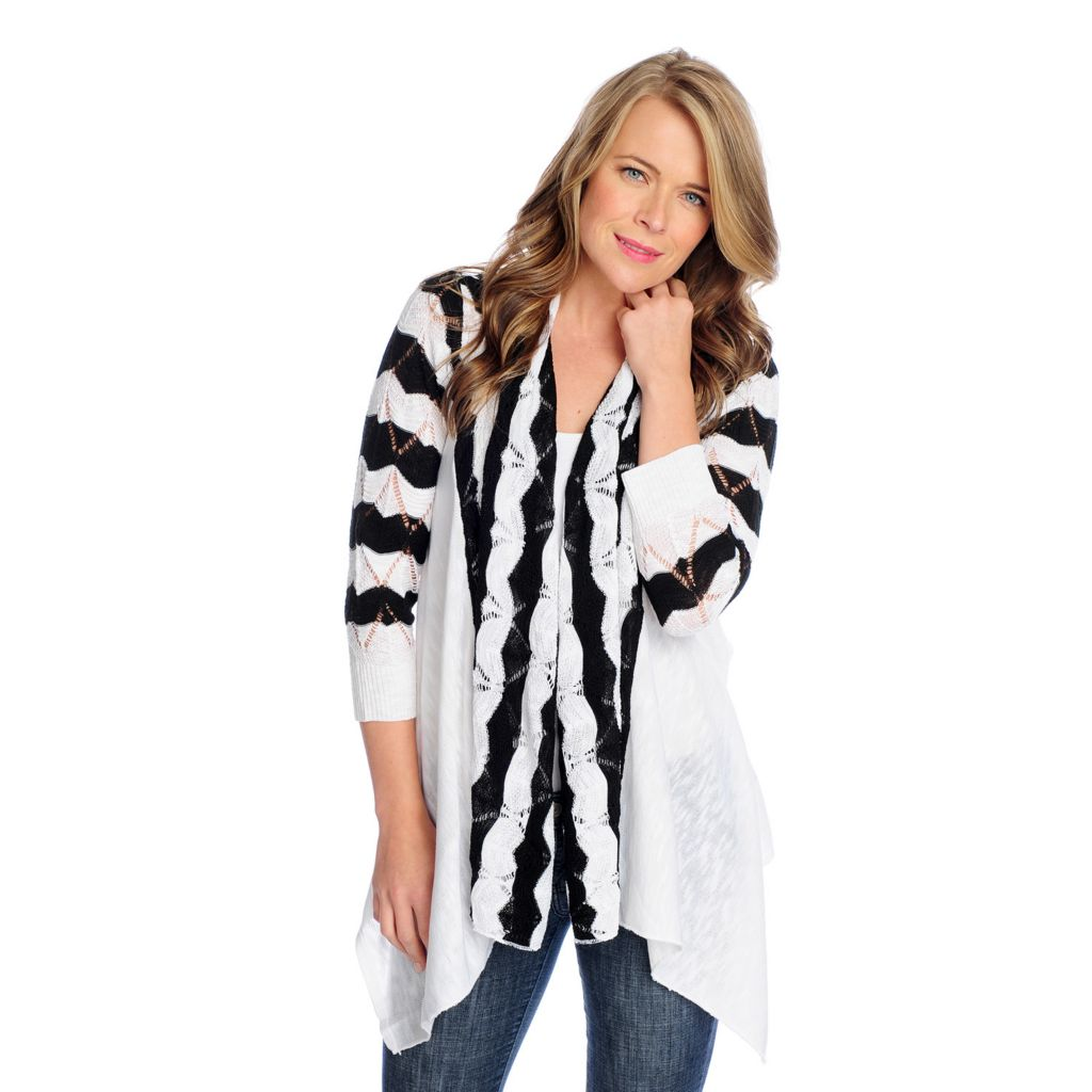 717-740 - OSO Casuals Pointelle Knit 3/4 Sleeved Scalloped Stripe Open Cardigan
