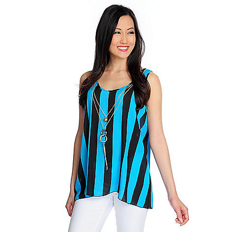 717-748 - Glitterscape® Woven Scoop Neck Striped Tank w/ Necklace