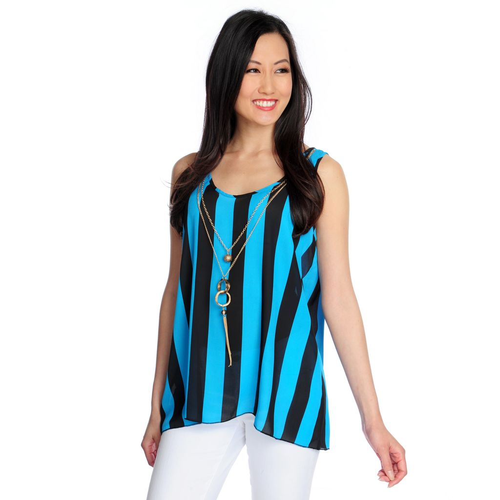 717-748 - Glitterscape Woven Scoop Neck Striped Tank w/ Necklace