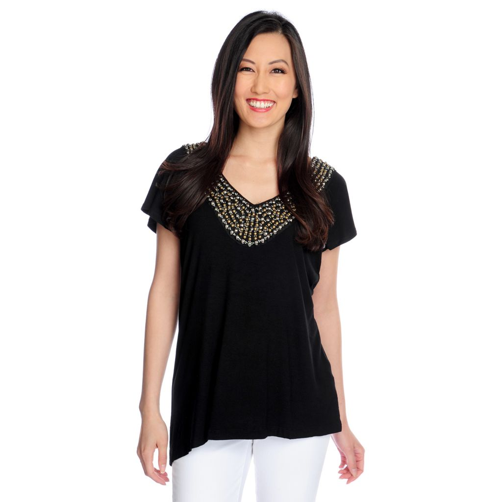 717-749 - Glitterscape Stretch Knit Flutter Sleeved Beaded Detail V-Neck Top
