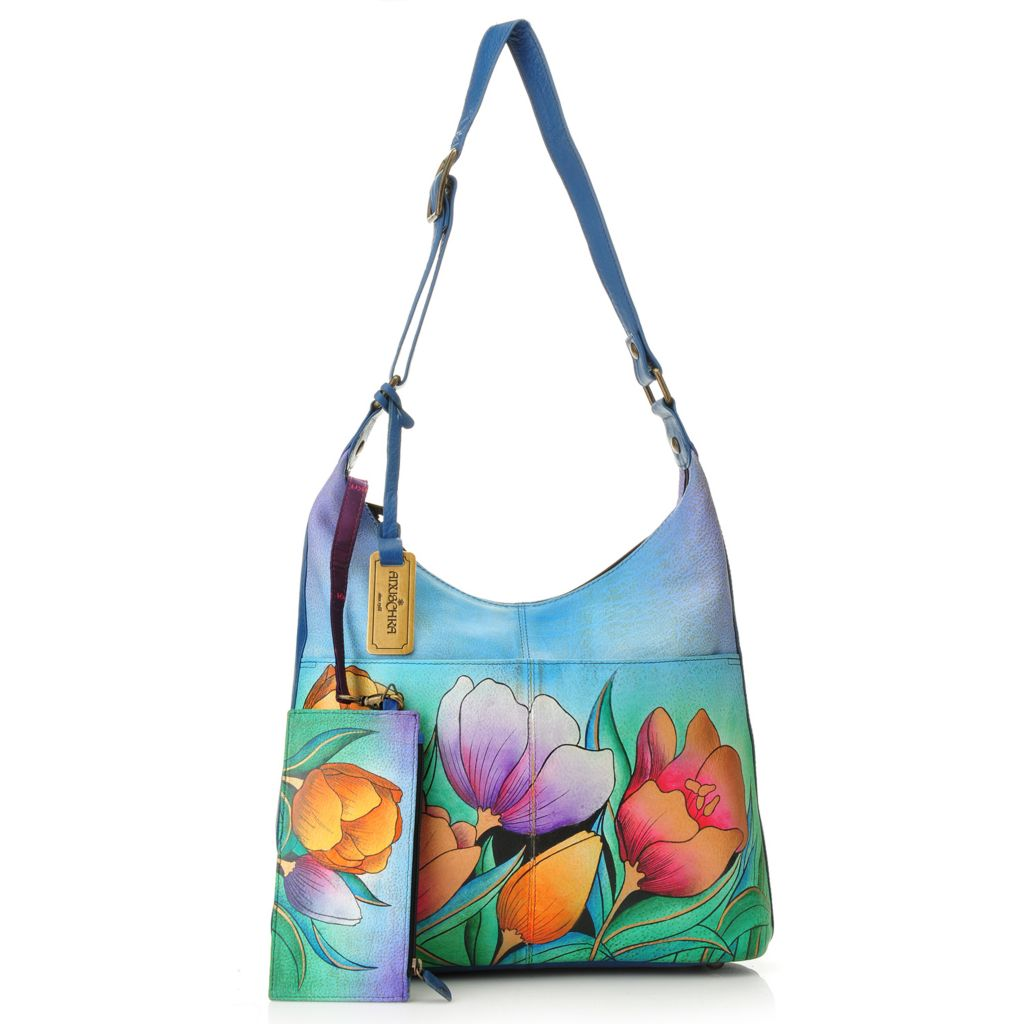 717-760 - Anuschka Hand-Painted Leather Zip Top Hobo Handbag w/ Card Holder