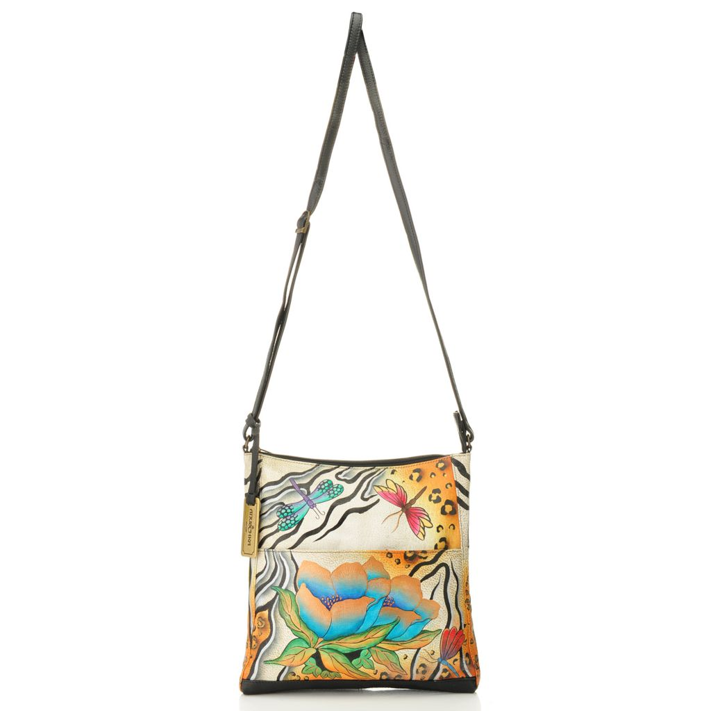 717-761 - Anuschka Hand-Painted Leather Zip Top North-South Cross Body Bag