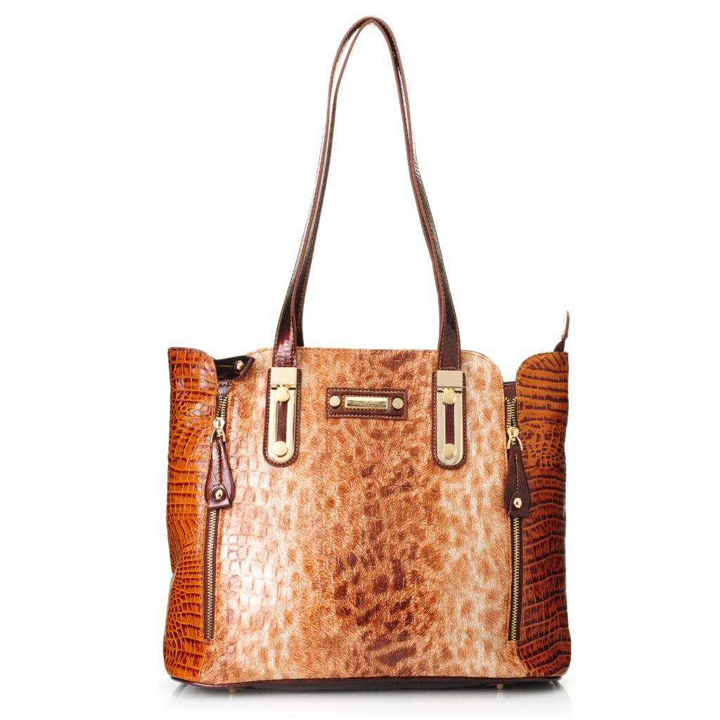 717-764 - Madi Claire Croco Embossed Leather Double Handle Snow Leopard Design Tote Bag