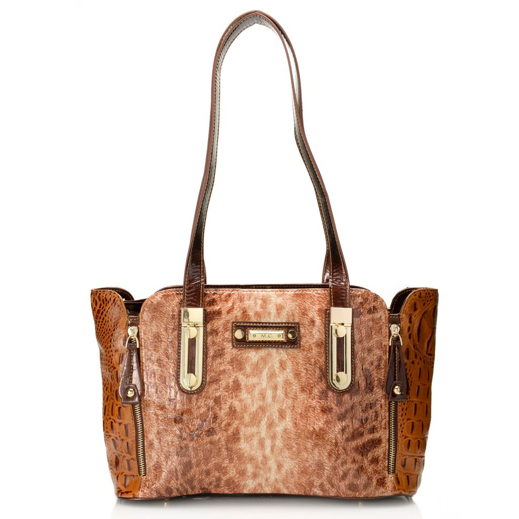 717-766 - Madi Claire Croco Embossed Leather Double Handle Snow Leopard Design Satchel